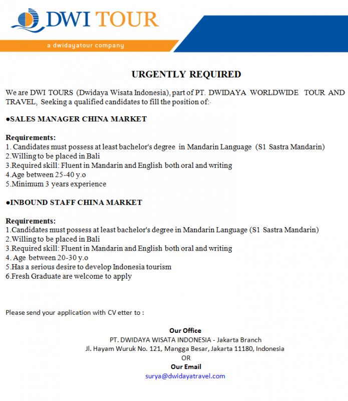 Lowongan kerja travel Bali 2014 - Kursus Bahasa Mandarin ...